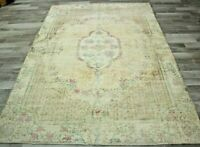 Boho Beige Area Rug Turkish Hand Knotted Traditional Wool Ethnic Carpet 6x10 ft.
