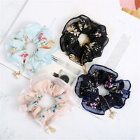 Women Floral Hair Scrunchies Bun Ring Elastic Sports Hair Band Hair Accessories