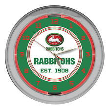 NRL SOUTH SYDNEY RABBITOHS Rugby League GLASS NEON Clock Man Cave Christmas Gift