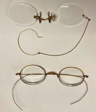 "Antique Eyeglasses Lot of 2 Wire Rim ""T.S. $5"" & Stevens Pince Nez w/Ear Chain"
