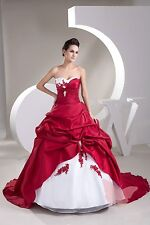 Red White Long train WEDDING Dress Bridal GOWN SIZE 6,8,10,12,14,16 WDH1-513