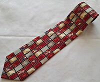 GENTS VINTAGE AUTHENTIC GALIOTTI FLORAL GEOMETRIC RED BEIGE SILK MENS NECK TIE