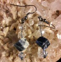 "Artisan Swarovoski Crystal SODALITE Gemstone 2"" Dangle Earrings"