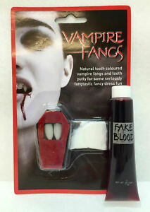 VAMPIRE DRACULA FANGS CAPS FANCY DRESS TEETH FAKE BLOOD HALLOWEEN HORROR BUNDLE