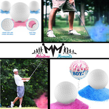 Gender Reveal Exploding Golf Balls Pink or Blue with Powder Tee & Balloon