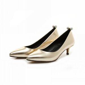Sexy Women's Kitten Heel Slip On Pumps Bridal Pointy Toe Wedding Shoes Comfort D