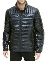 DKNY Mens Puffer Jacket Black Large L Quilted Full Zip Stand-Collar $225- 094