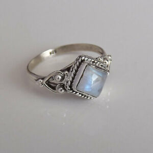 Gorgeous Women 925 Silver Rings for Moonstone Wedding Jewelry Gift Size6-10