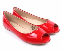 Red Narrow Open Toe Casual Office Ladies Slip On Womens Ballet Flats Shoes