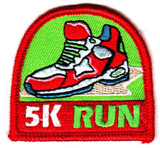 """5K RUN w/SPORT SHOE - SPORTS - RUNNING - COMPETE - Iron On Embroidered Patch"