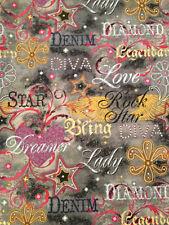Diamonds Denim Dreams Love Diva Lady Colorful Bthyx44 Cotton Sew Quilt Fabric *