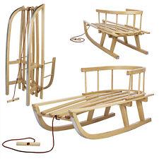 Holzschlitten aus Buchenholz Rückenlehne Zugseil Kinder Rodel Kinderschlitten