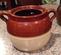 "ANTIQUE VINTAGE BEAN POT Primitive Pottery Crock Jug 2 Handle 5-1/4"" Tall"