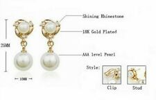 14K Gold plated Pearl Necklace and Clip On Earrings No Piercing Jewellery Set