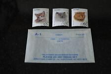YEMEN 1990 DOMESTIC CAT STAMPS -  3 VARIETIES