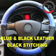 CAR STEERING WHEEL COVER SIZE 37-39cm BLUE & BLACK LEATHER