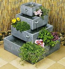 Perth 4-Tier Cascade Solar Water Fountain Planter Yard Feature Garden Decoration