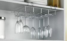 CHROME STEMWARE GLASS 4 ROW UNDER CABINET SHELF WINE STORAGE RACK HOLDER HANGER