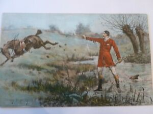 Antique Stanley Berkeley (1855-1909) humorous horse watercolor/ H?C engraving