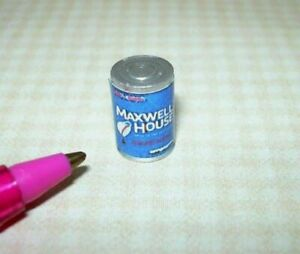 "Miniature Blue Brand Coffee Can, Metal, 1/2"" Tall: DOLLHOUSE 1:12"