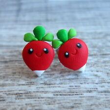 Girls Red Radish Miniature Vegetarian Food Small Stud Cute Fimo Earrings Jewelry