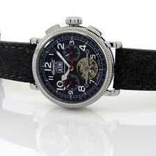 INGERSOLL GERMAN DESIGN AUTOMATIC DATE-DAY-MONTH STEEL 44mm LEATHER IN1827BKWH