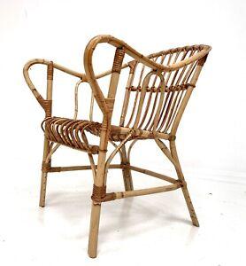 Mid century Italian rattan chair, vintage retro bamboo, cane bedroom, boho tiki.