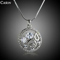 Women Cubic Zirconia Flower Pendant Austrian Crystal White Gold Plated Necklace