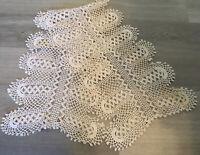 Vintage Table Runner Or Dresser Scarf, Hand Crocheted, Floral, Beige, Cotton