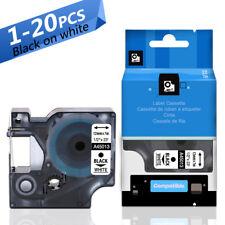Compatible DYMO D1 45013 S0720530 Label Tape Cassette Black on White ,12mm x 7m