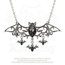 Renaissance Scroll Bats Viennese Nights Necklace Alchemy Gothic Pendant Crystals
