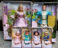 """Rapunzel Barbie Doll Prince Stefan Ken Peacock Kelly Angel Prince Tommy Lot 6 """""""