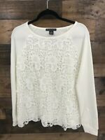 Adrianna Papell Women's White Lace Overlay Long Sleeve Blouse Top Size M