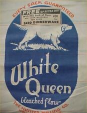 Vintage White Queen Flour Sack Wellington Kansas LOGO Dog Hunter Mill Feedsack