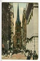 A Look Down Wall St. at Trinity Church NY, NY 1907 - 1915 Postcard