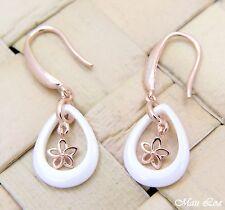 925 Silver Pink Gold Hawaiian Plumeria Flower White Ceramic Tear Drop Earrings