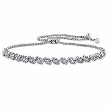 Amour 1/2ct TDW Diamond S Style Adjustable Bolo Bracelet in Sterling Silver