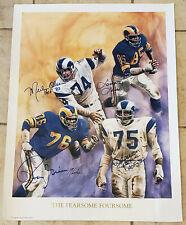 LA Rams Fearsome Foursome Autographed Signed Color Litho Print Jones Estate LOA