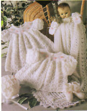 CROCHET Matinee Coat,Dress,Bonnet,Booties,Mitts&Shawl PATTERN.ONLY in 3 ply