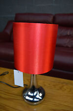 Modern Chrome & Red Touch Dimmer Bedside Table Lights Lamps NEW