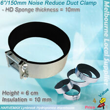 "6""/150mm Noise Reducer Clamps For Hydroponics Duct Fan Carbon Filter Silencer"