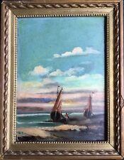 ECOLE HOLLANDAISE du XIXe.Bateaux échoués.1880.Huile/panneau.Monogrammé.