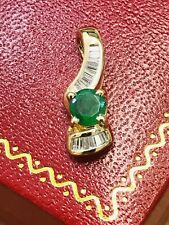 14k Solid Yellow gold Natural Emerald  & Diamond Pendant May Birthstone Baguette