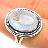 Rainbow Moonstone 925 Sterling Silver Ring Size 7.5 Ana Co Jewelry R43680F