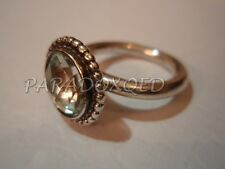 PANDORA RARE VINTAGE Sterling Silver 925 INSPIRED BLOOM Green QUARTZ RING Size 5
