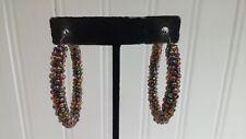 Vintage Silvertone Metal Iridescent Glass Seed Bead Hoop Post Pierced Earrings