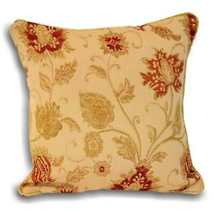 """ZURICH CLASSIC WOVEN CHENILLE TAPESTRY FLORAL GOLD RED THICK CUSHION COVER 18"""""""