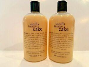 New Philosophy Vanilla Birthday Cake Shower, Shampoo & Bath Full Size x 2 = 32oz