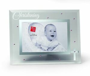 Russ Berrie Small Blessings Christening Glass Photo Frame, Pink 4X6 Free Ship