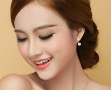 1 Pair Womens Silver Crystal Rhinestone Stud Round Earrings Wedding Jewelry